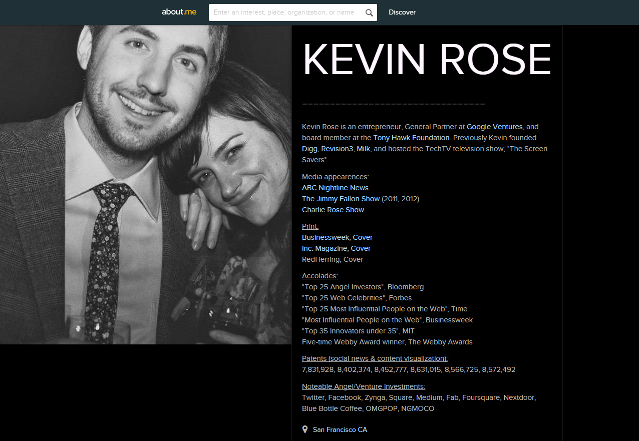 kevin rose old profile about.me