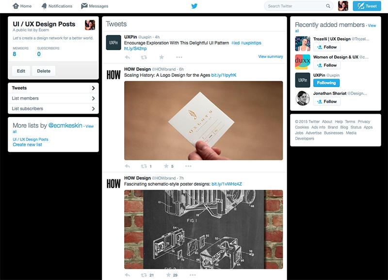 ui/ux design list twitter