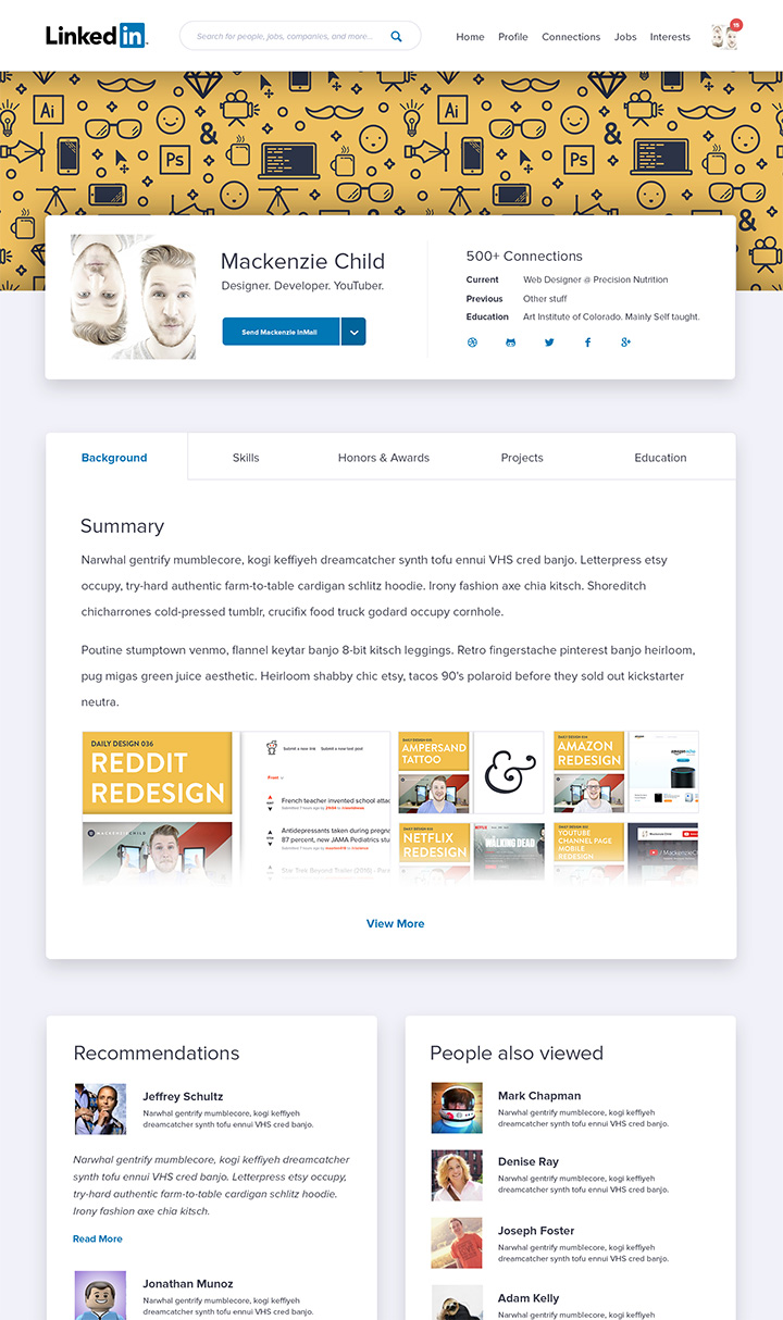 Linkedin Homepage And Ui Redesign Concepts