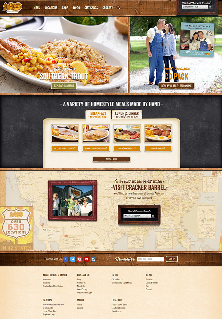 cracker barrel homepage redesign screenshot