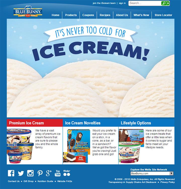 old blue bunny website homepage
