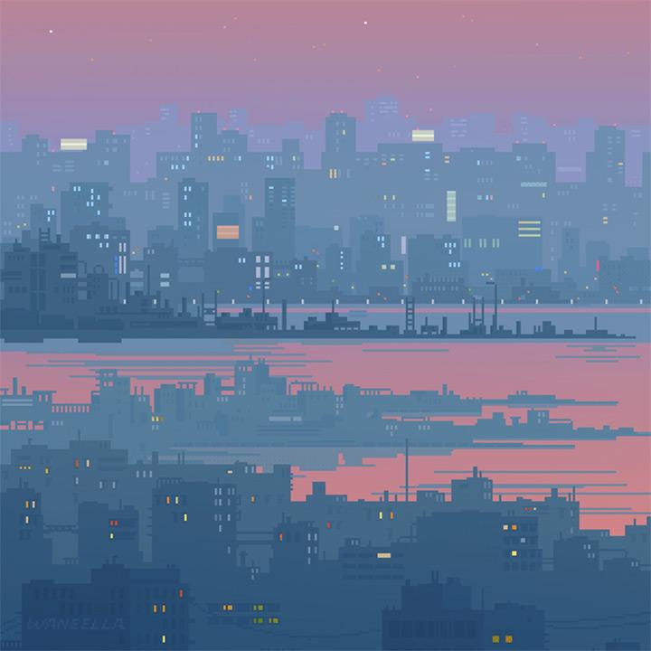 neonmob neon city pixel artwork