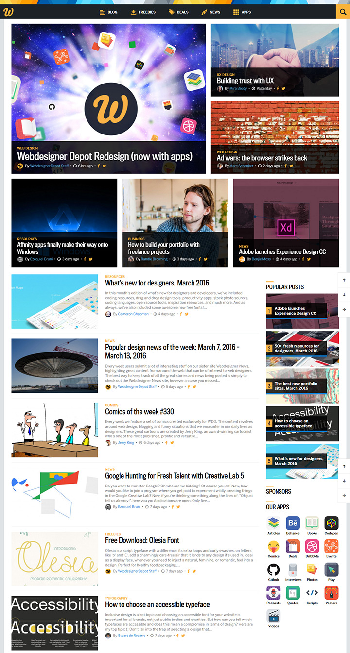 webdesigner depot new redesign homepage