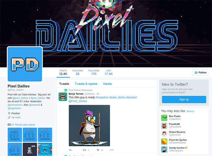 pixel dailies twitter account