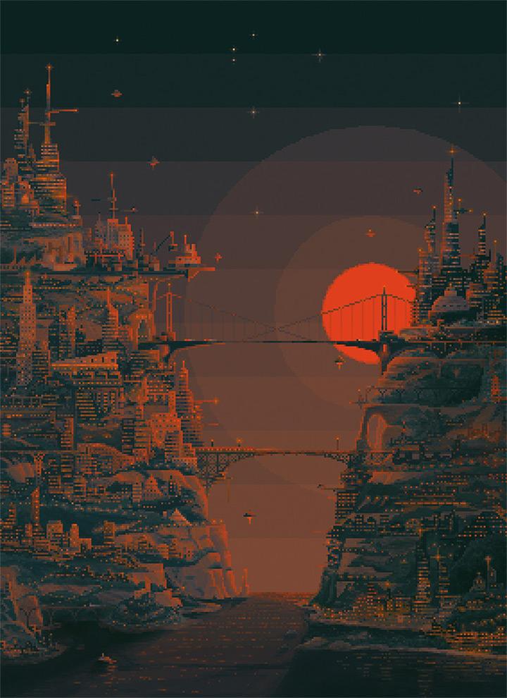 troy yile pixel art sunset parallel