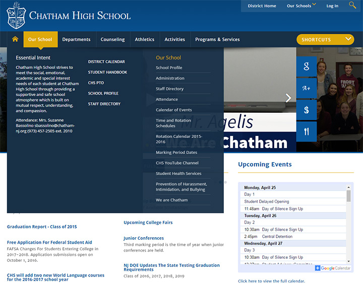 chatham high school website website design ideas - Apartment Website Design