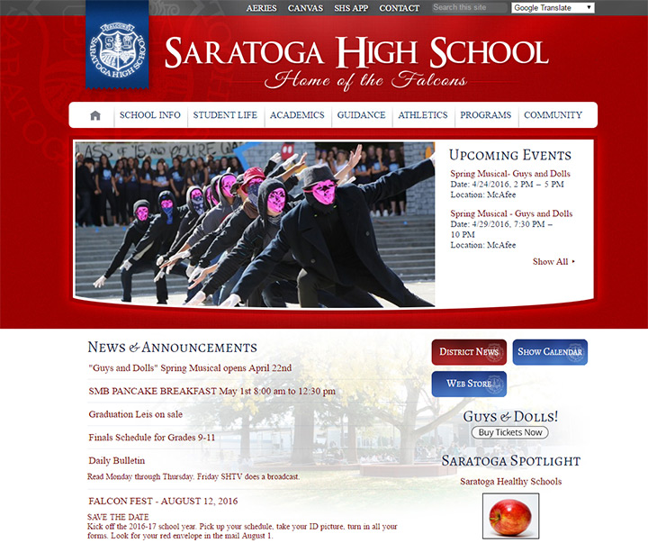 Saratoga Hs Website Homepage