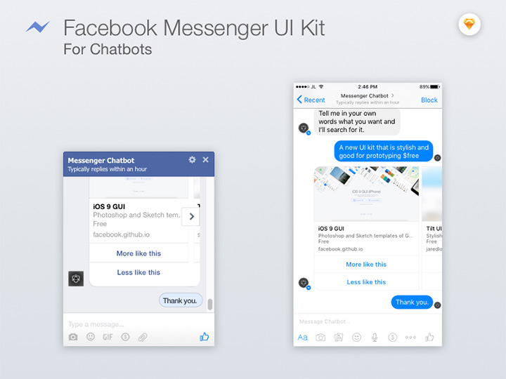facebook messenger freebie sketch uikit