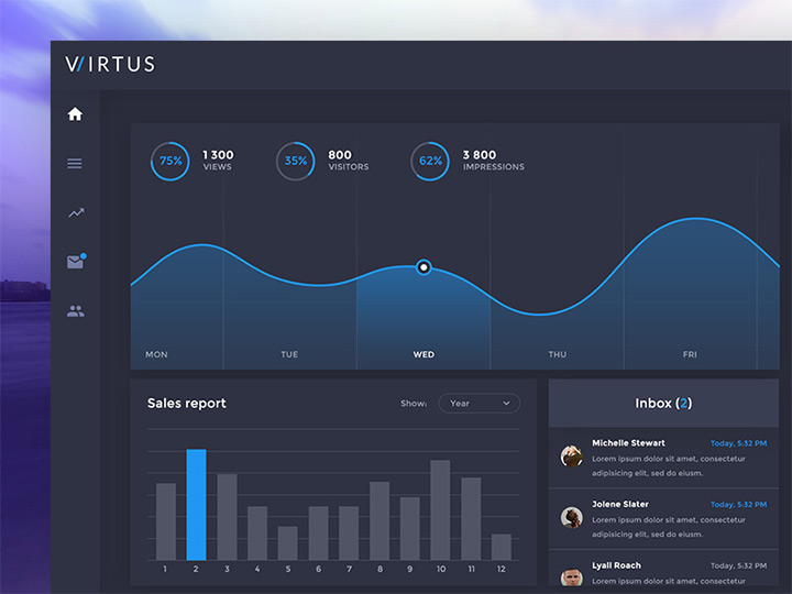 virtus dashboard psd freebie