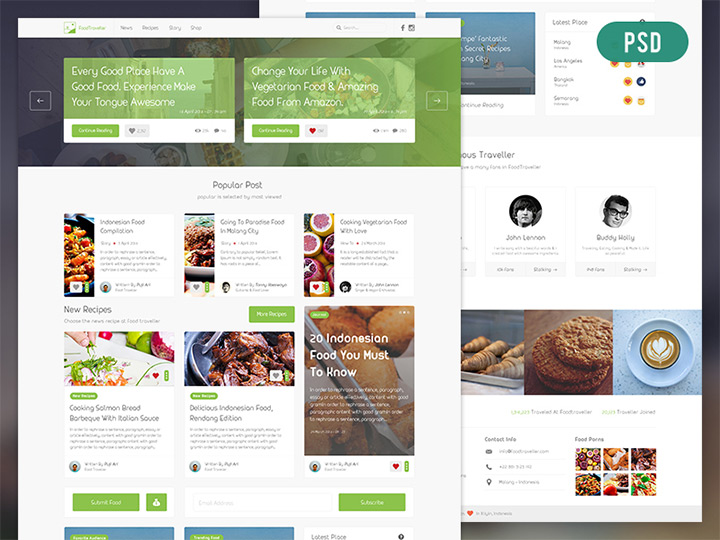 food blog psd freebie
