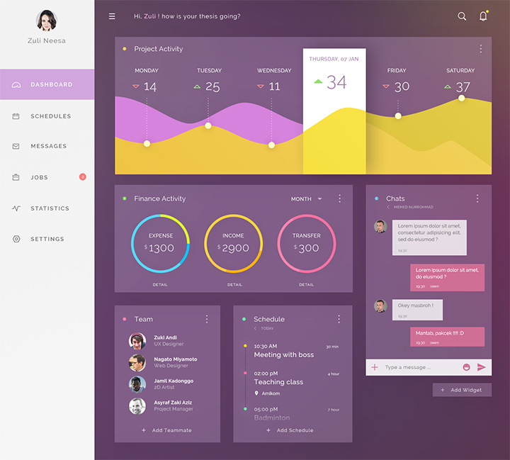 purple dashboard ui freebie