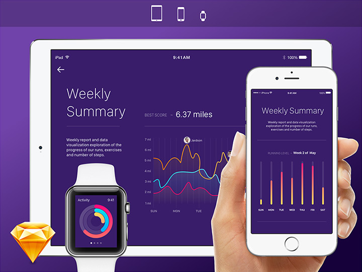activity monitor ios watch ui freebie