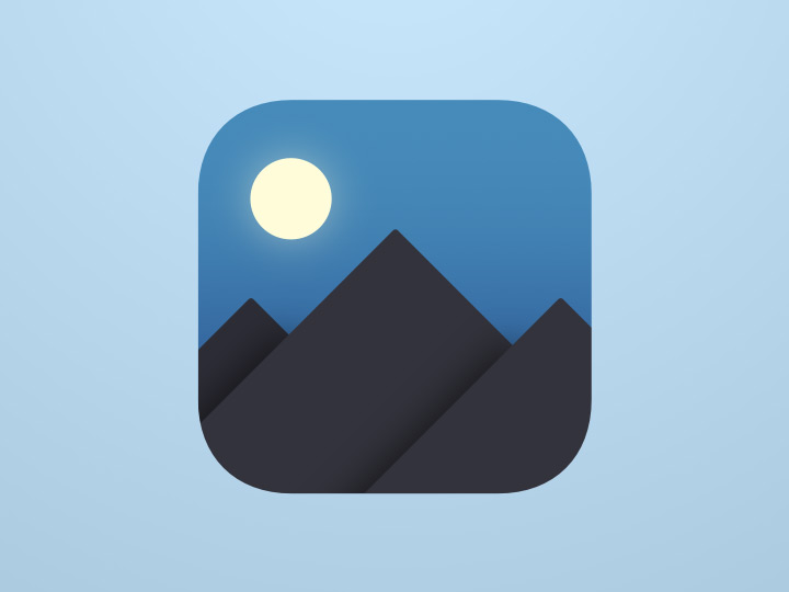 ios style icon night sky mountains