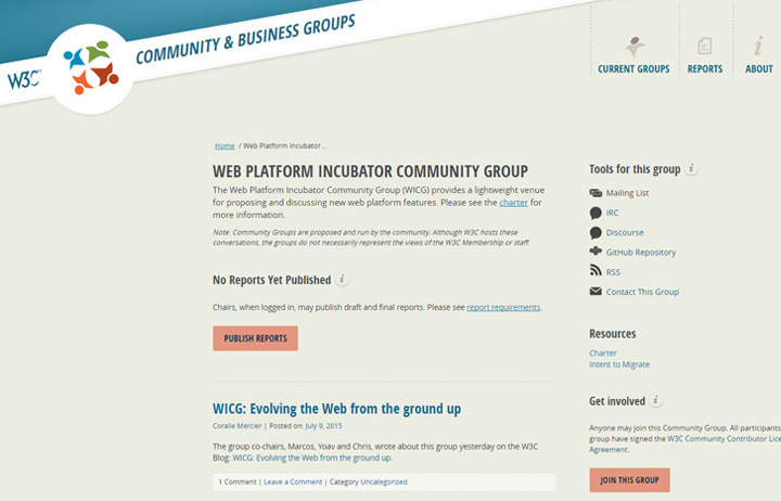 wicg incubator group HTML5.1 website