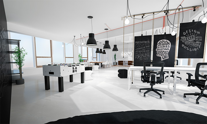 invision labs white office space