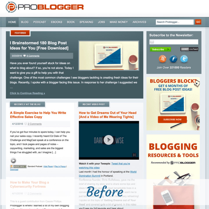old previous problogger website homepage