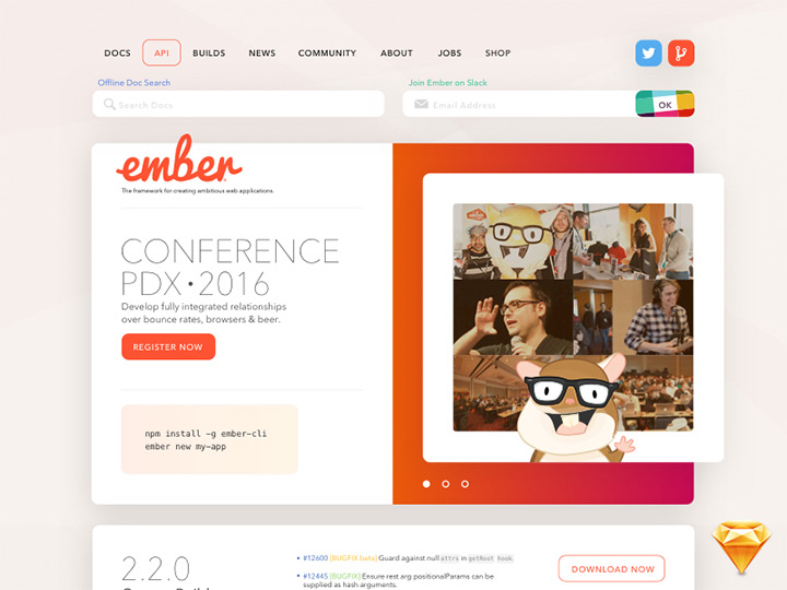 emberjs project website freebie