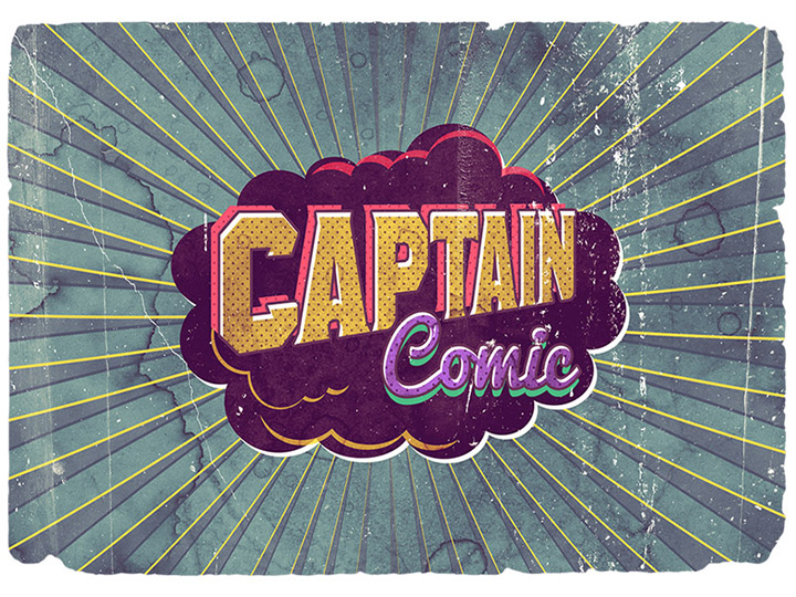 vintage comics poster text effect