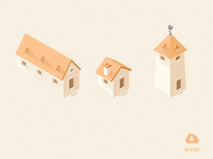 little building icons isometric