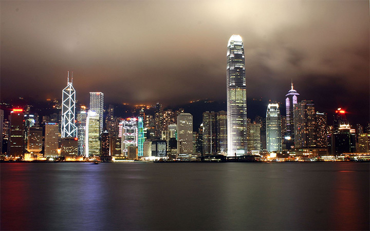 hong kong china city landscape nighttime