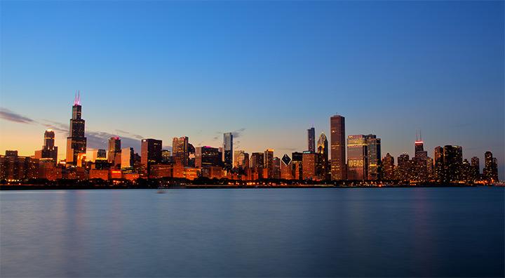 city chicago illinois nighttime wallpaper
