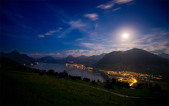 moonlight lake lucern switzerland wallpaper