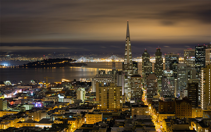san francisco night skyline wallpaper