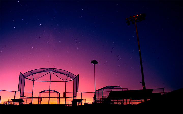 orange sunset softball cage wallpaper