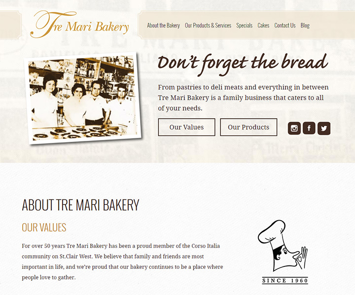 tre mari bakery homepage