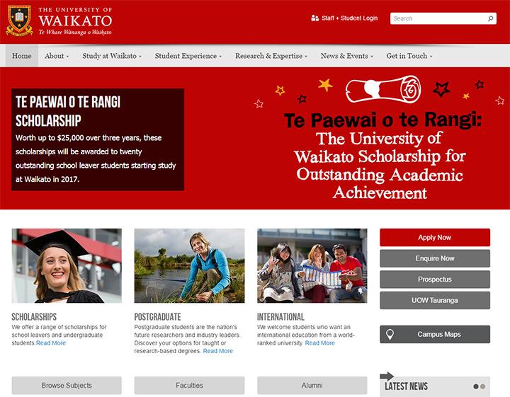 waikato uni website