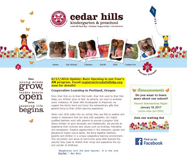 cedar hills kindergarten