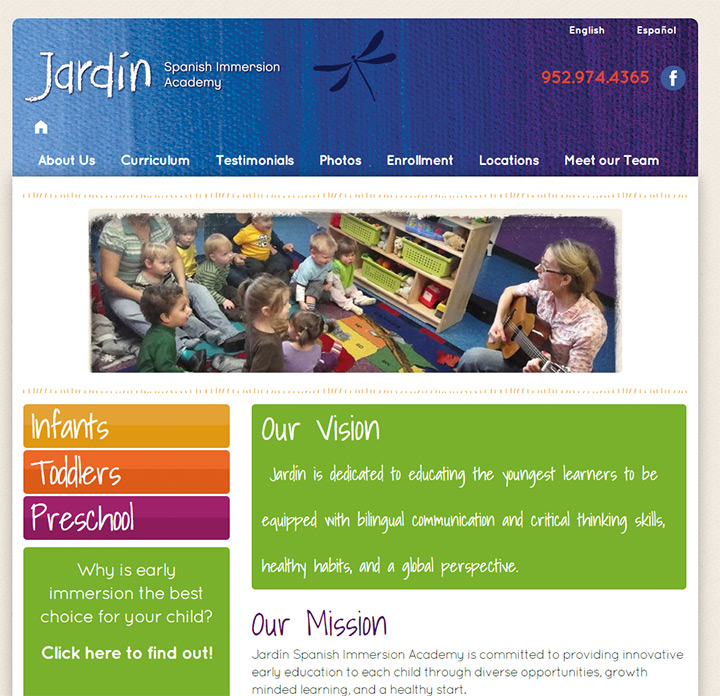 100 preschool kindergarten websites for design inspiration for Jardin spanish