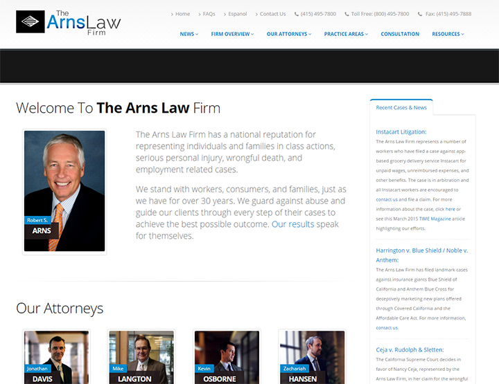 arns law firm website