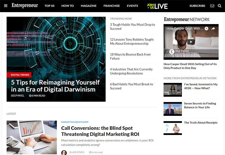 entrepreneur homepage