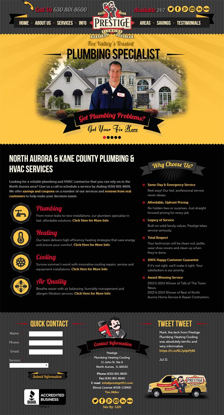 prestige plumbing website