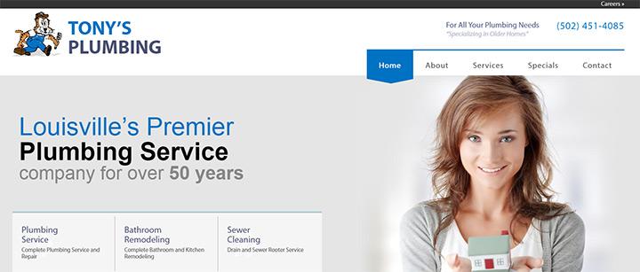 tonys plumbing website