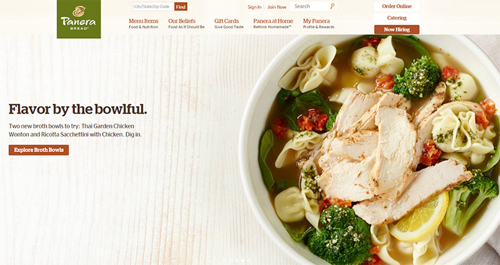 panera bread homepage