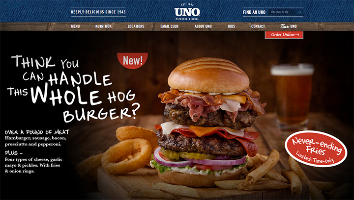 unos pizza website