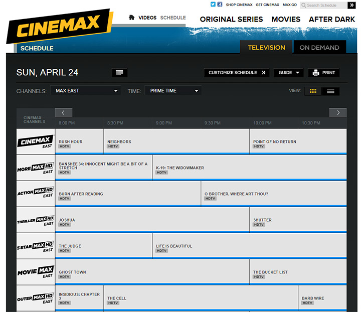 Images of Cinemax Channel Schedule Tv Schedule - #rock-cafe