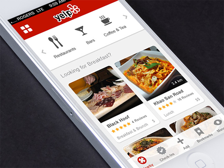 Imaginative yelp redesigns website mockups and mobile app