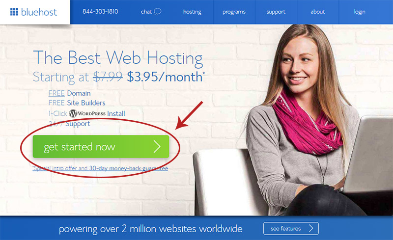 bluehost homepage