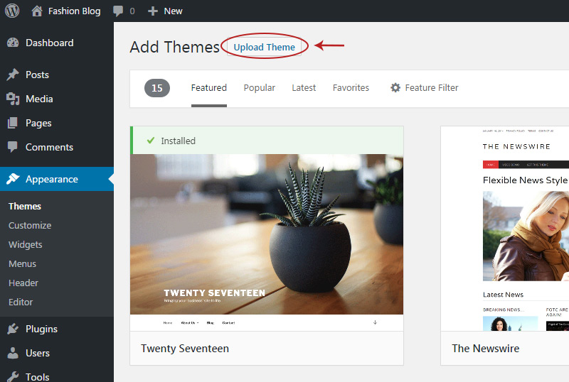 upload wp theme button