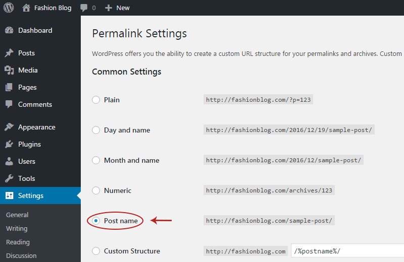 change permalinks settings