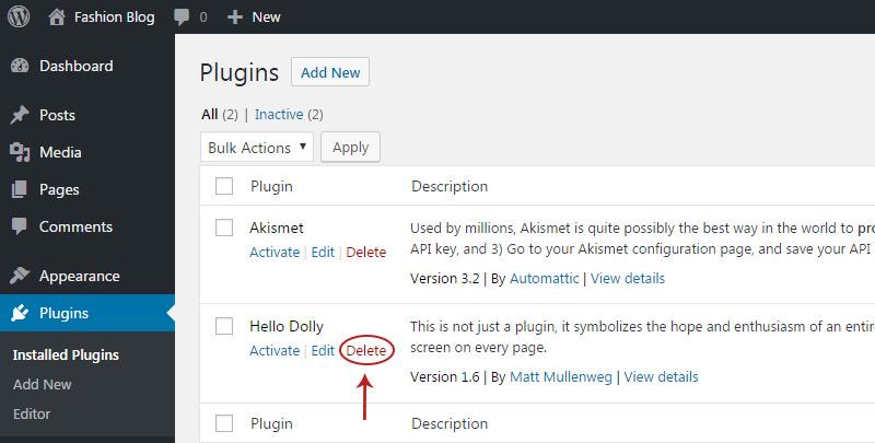 delete plugins link