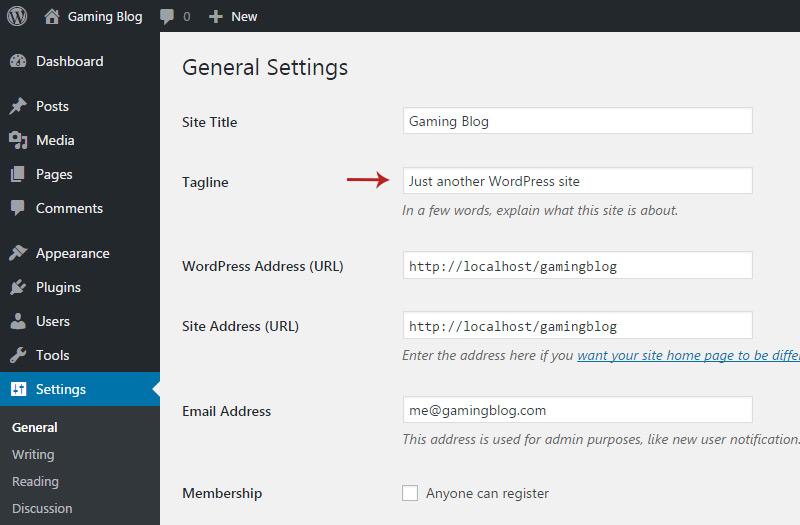 wordpress edit tagline