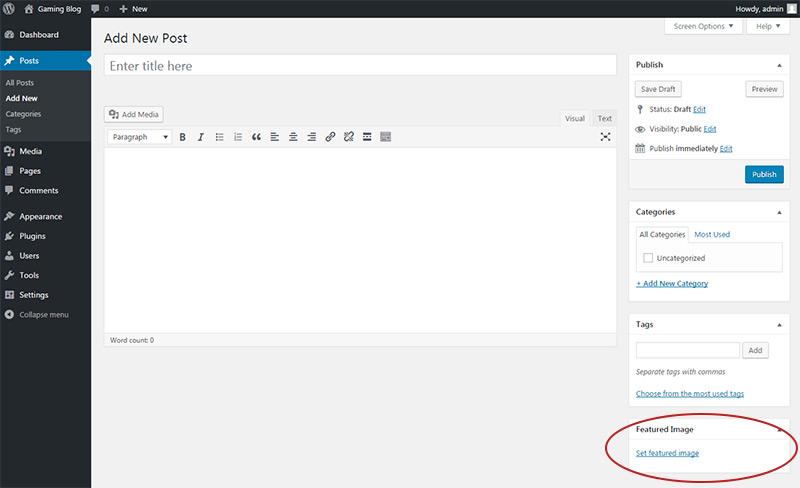 wordpress featured image box
