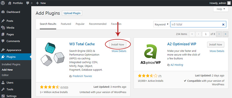 w3 total install plugin