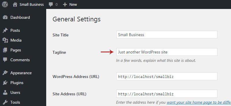 wordpress tagline settings