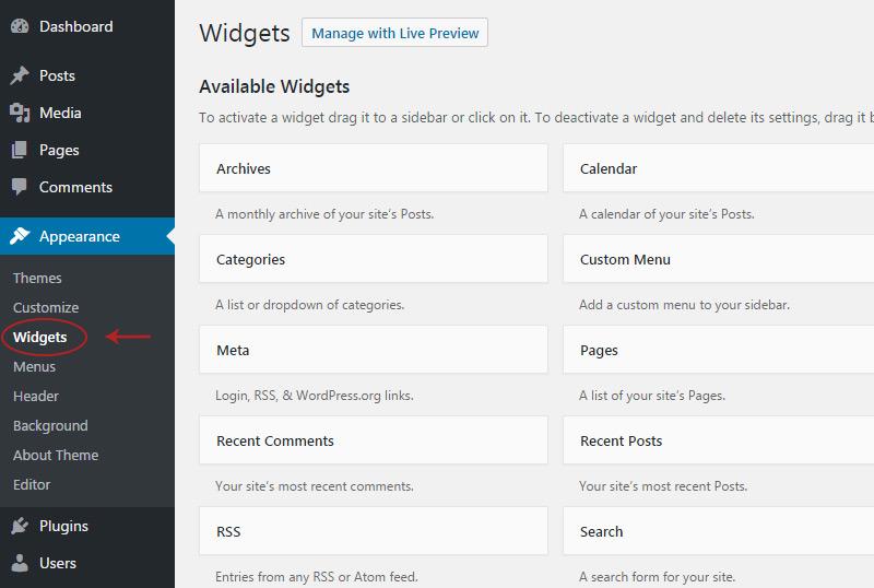 widgets page
