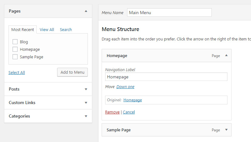 select menu position